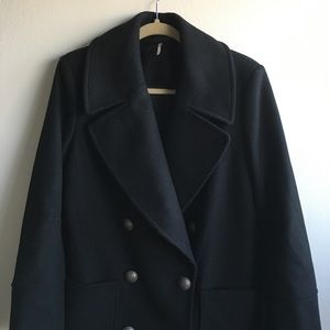 NWT Free People Wool Blend Black Pea coat